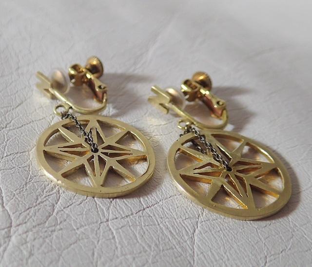 Brass compass earrings 真鍮コンパスイヤリング