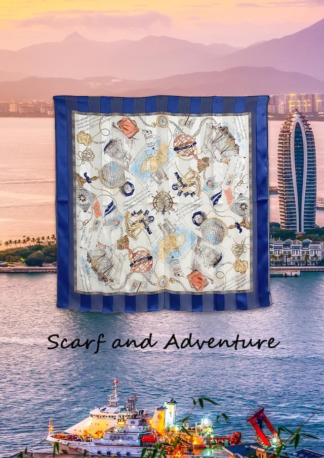 シルク100%|日本製|横浜スカーフ 手捺染 アドベンチャー|クール&カジュアルなイメージ♪【sp047】