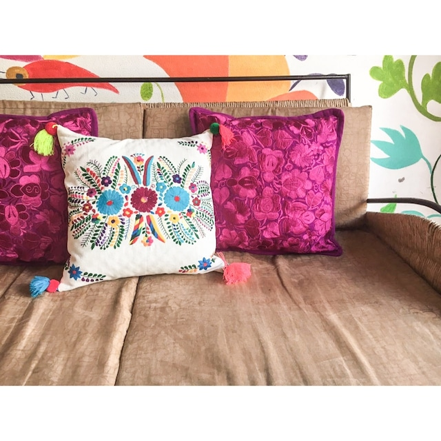 Mexican Embroidered Cushion Cover with Pompon