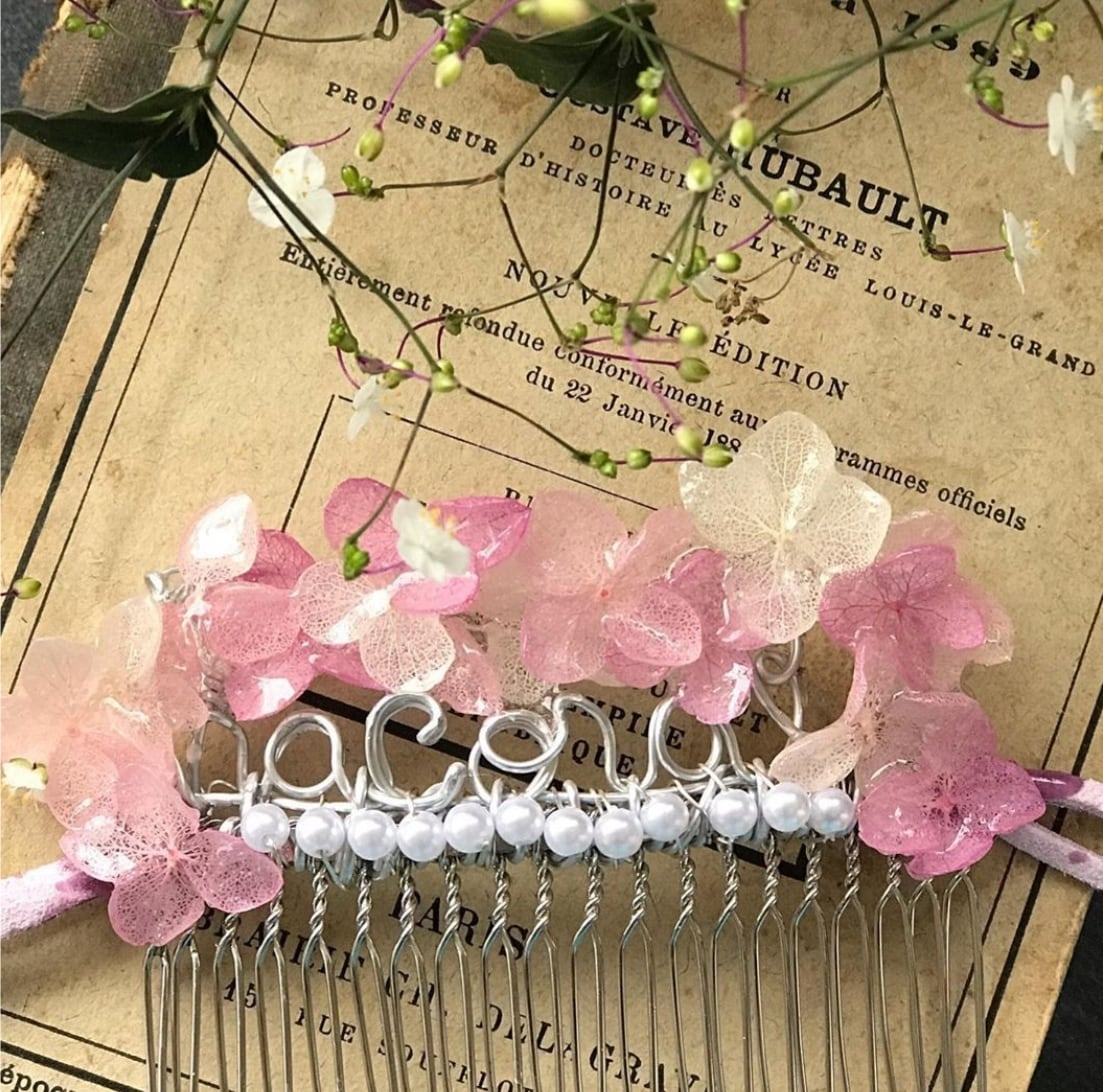マスクフック 髪コームアクセサリー ピンク 受注製作