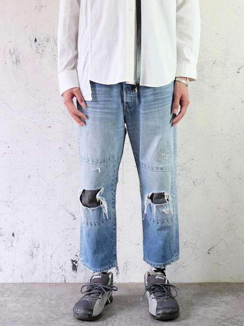 cropped damaged denim pants