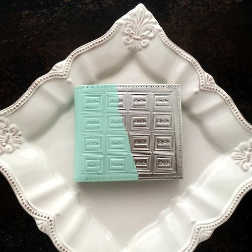 革のミントチョコ・二つ折り財布(銀の包み紙)