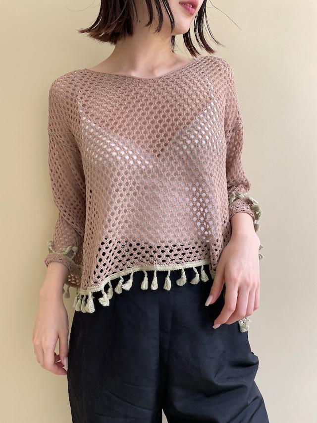 fringe mesh tops / 7SSTP15-13
