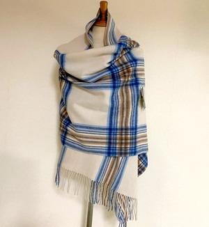 【TWEEDMILL】Lambswool Blanket Stole with Pin(Knee Rug) Tartan Lt. Beige & Blue