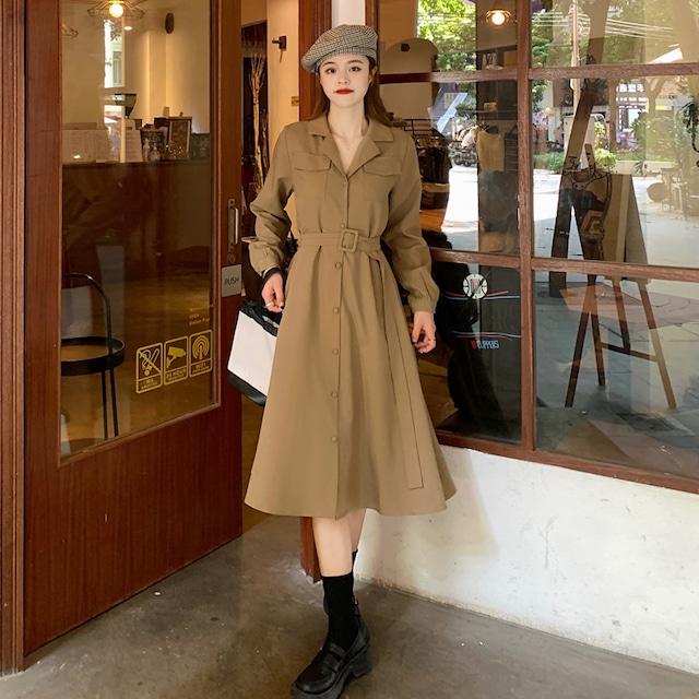 【ワンピース】スーツの襟フランス語ミドル丈ワンピース52195668