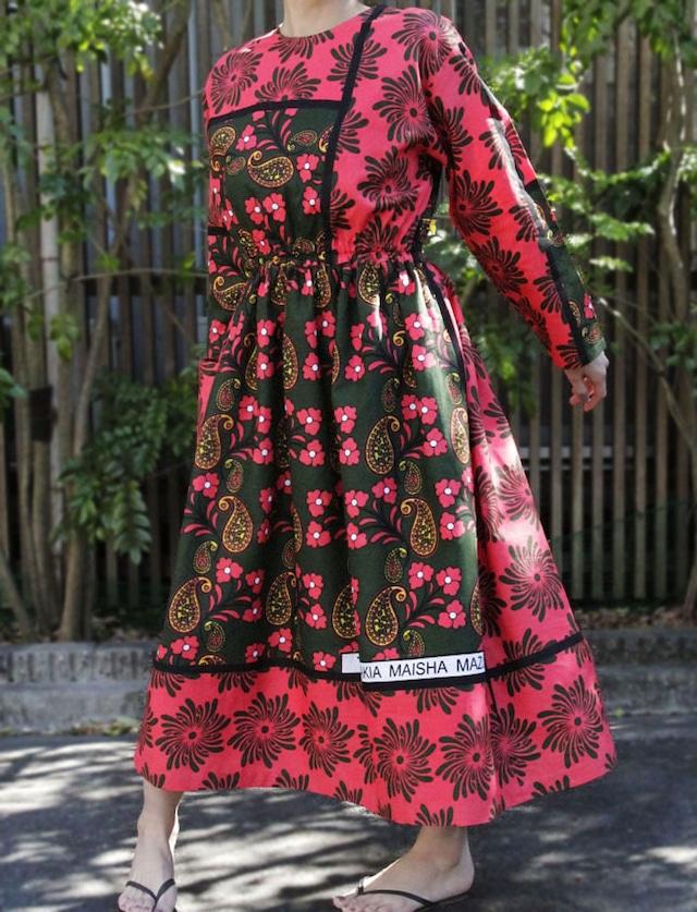 【 送料無料 】カンガの長袖ワンピース|アフリカ布ワンピース