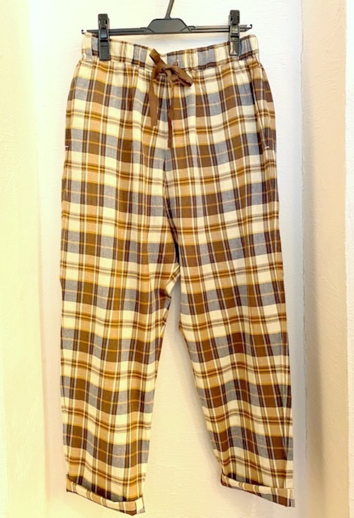 Indian Madras Check Pants Beige