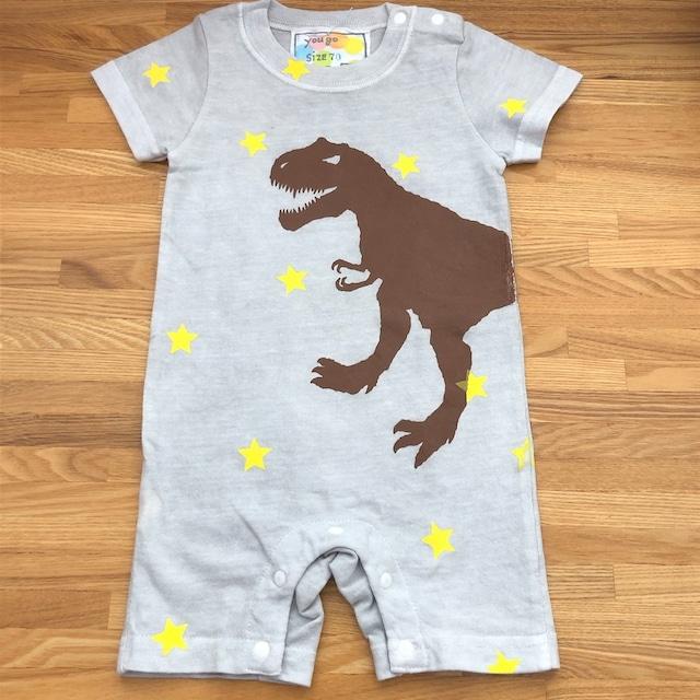 受注制作 babyロンパース「ティラノサウルスと星 グレー」80cm