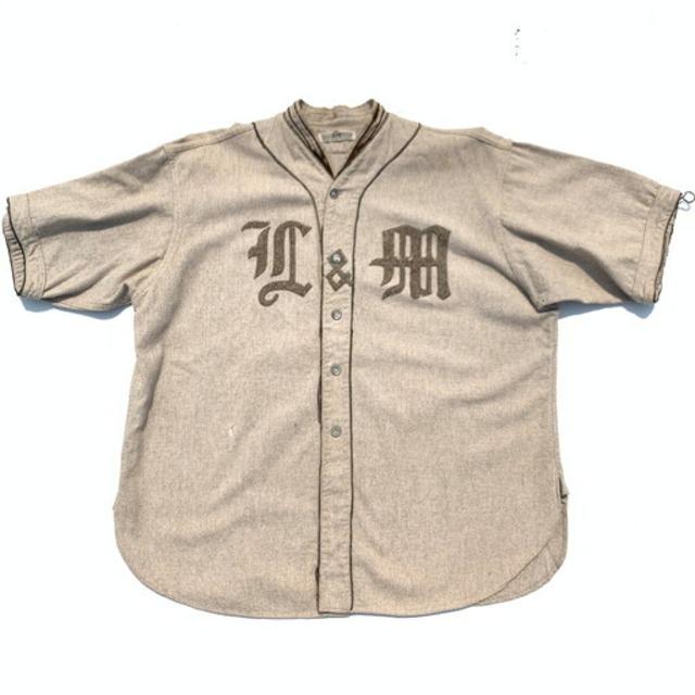 20's 30's M&H SPORTSMEN'S OUTFITTERS ウールベースボールシャツ 立ち襟 ベージュ ブラウン L&M シェルボタン マチ有り 希少 ヴィンテージ BA-943 RM1312H