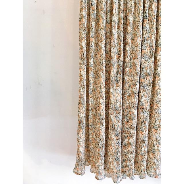 細プリーツ花柄スカート