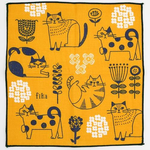 猫ハンカチ(FIKAハンカチ)猫と花