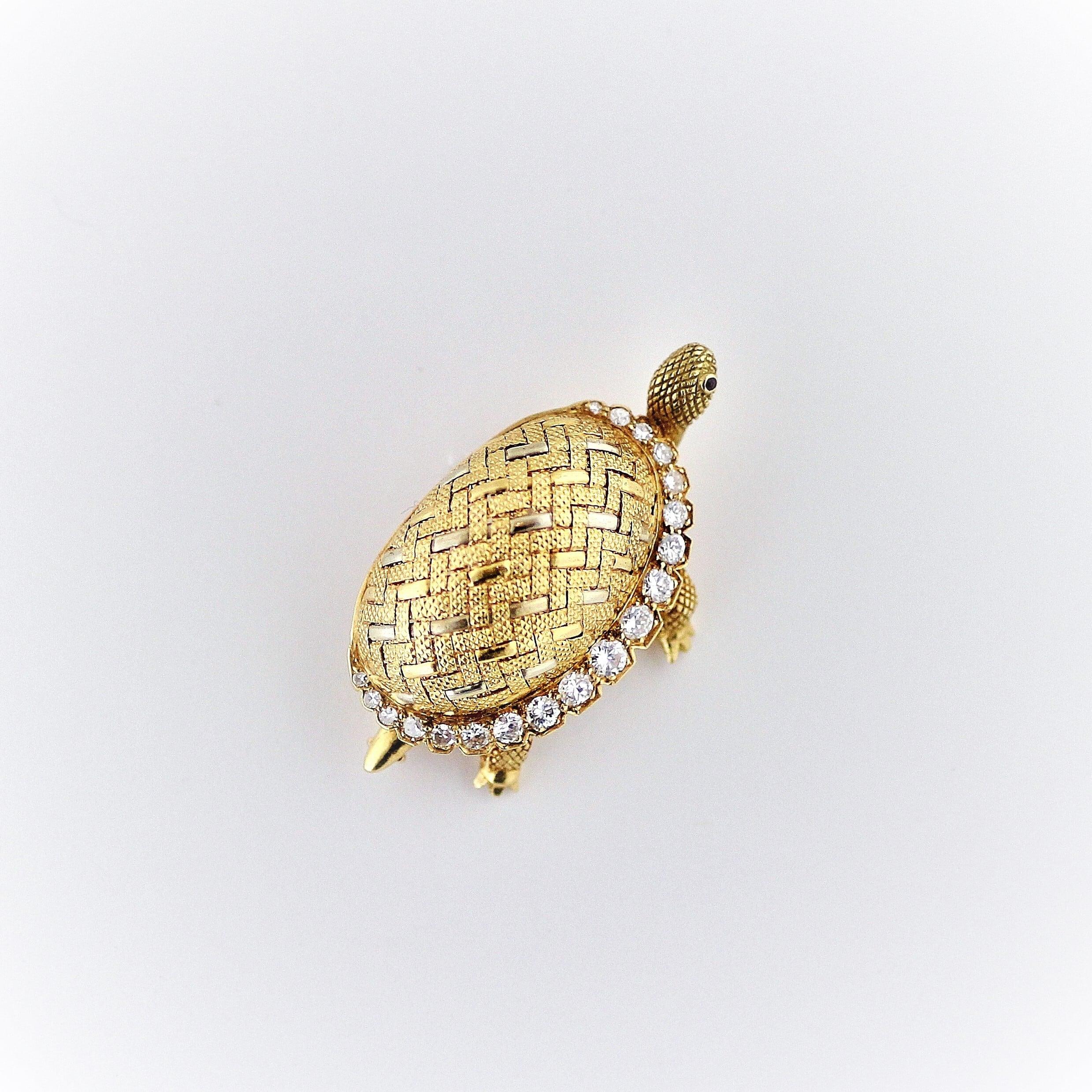 Diamond & Gold Turtle Brooch  ダイアモンド&ゴールド タートル ブローチ