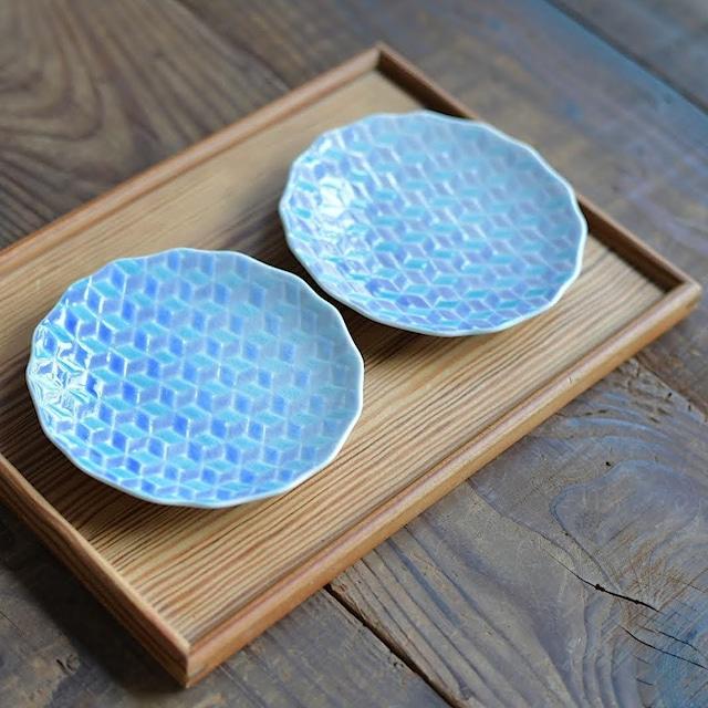 【九谷焼】淡いグラデーションの4寸小皿【2色セット】「紅掛空色」(藤色×紺青)