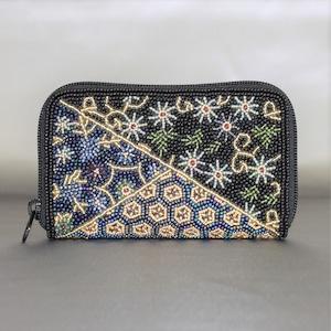 ラウンド小財布099黒帯柄ビーズ刺繍