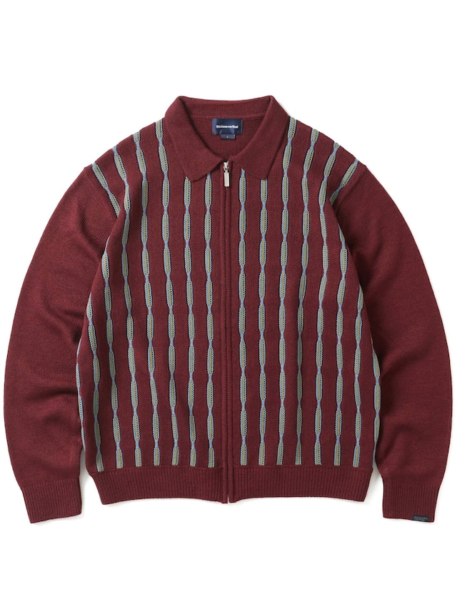 THISISNEVERTHAT  CHAIN ZIP UP POLO BURGUNDY
