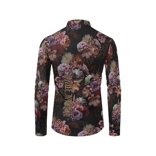 芍薬牡丹百合 黒 ユニセックスサイズ長袖シャツ