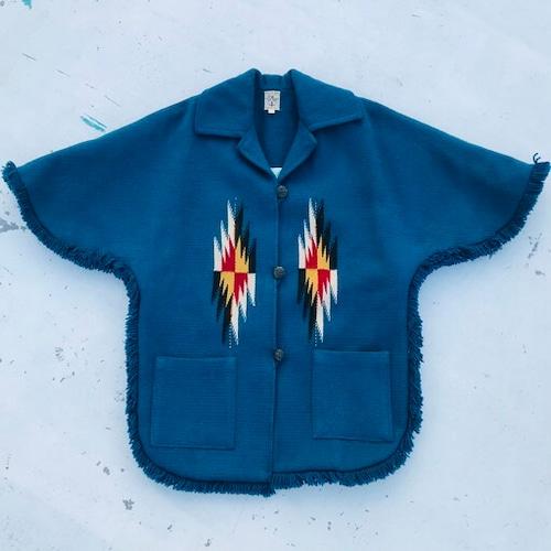 50's 60's ORTEGA'S オルテガ チマヨポンチョ CHIMAYO PONCHO ブルー フリンジ ネイティブアメリカン メンズ レディース 40 USA製 HAND WOVEN 希少 ヴィンテージ