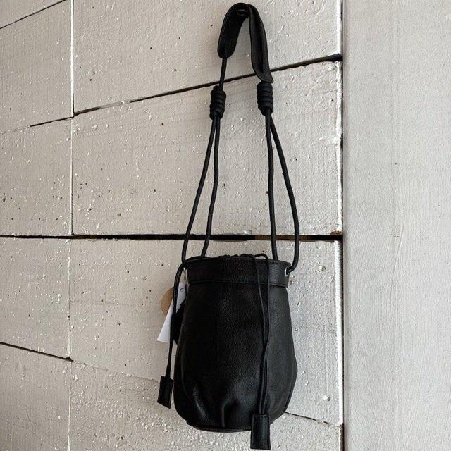 Topanga Bag コロン巾着レザーバッグ ブラック