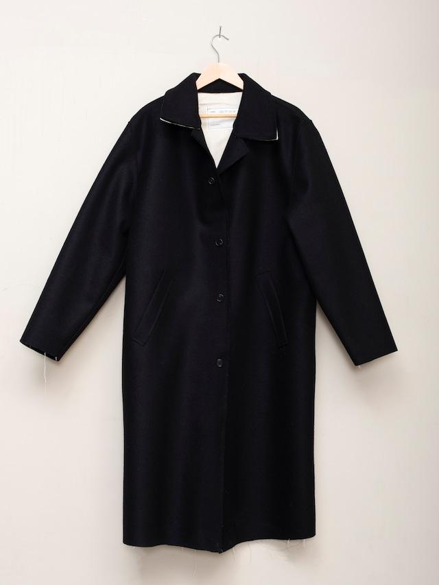 CAMIEL FORTGENS LONG COAT, LODEN WOOL FELT Black CF.12.10.03