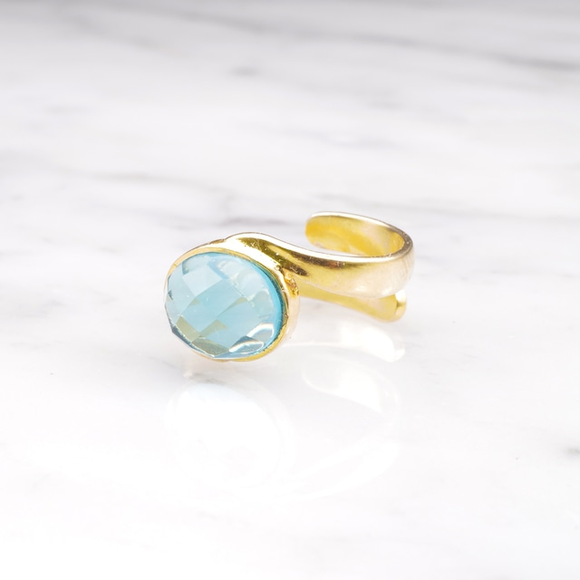 SINGLE STONE WAVE RING GOLD 007