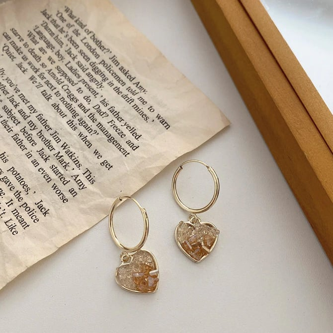 Transparent Champagne Crystal heart Earrings