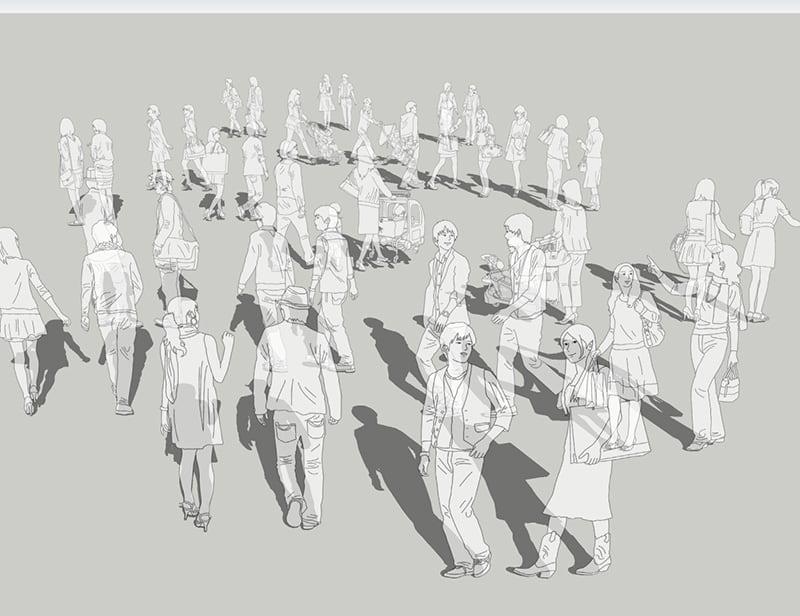 人物線画SketchUp素材 4up_line01_20_5 - 画像1