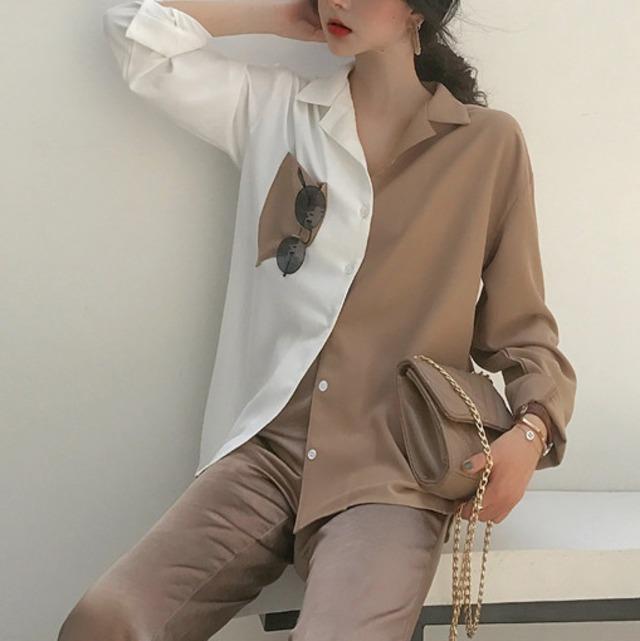シックなバイカラーシャツ 2色 【TS0902】