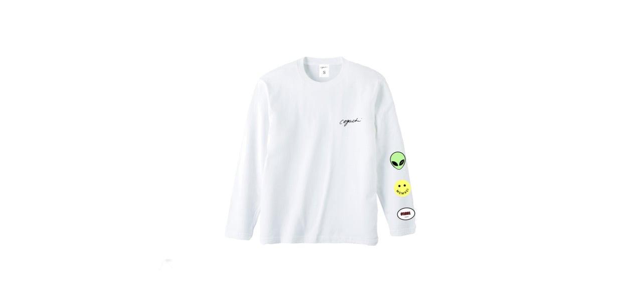 coguchi happy graphic long T-shirts (WHT)