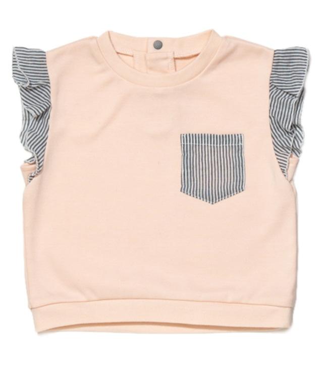 【ベビー服】肩フリルTOPS / ピーチ / 80サイズ
