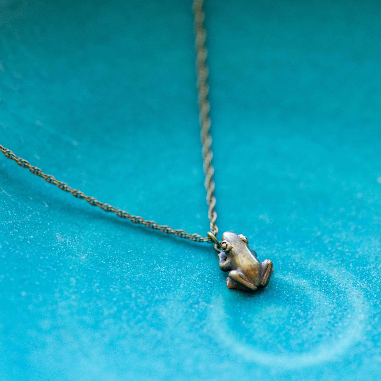 ご主人様を見つめる蛙の真ちゅうネックレス