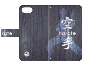 SoftBank 用:全日本空手道連盟認定 手帳型スマホケース O_木目_ブルー