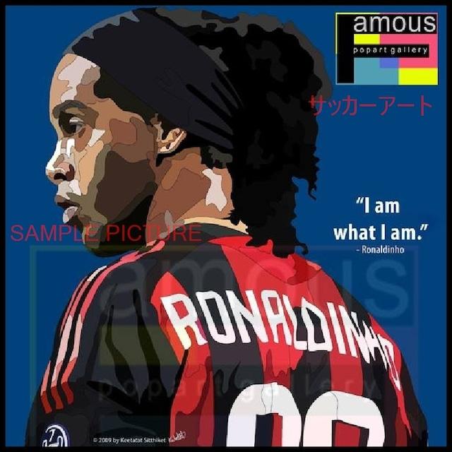 サッカーグラフィックアートパネル ロナウジーニョ ACミラン 木製 壁掛け ポスター (001-058)
