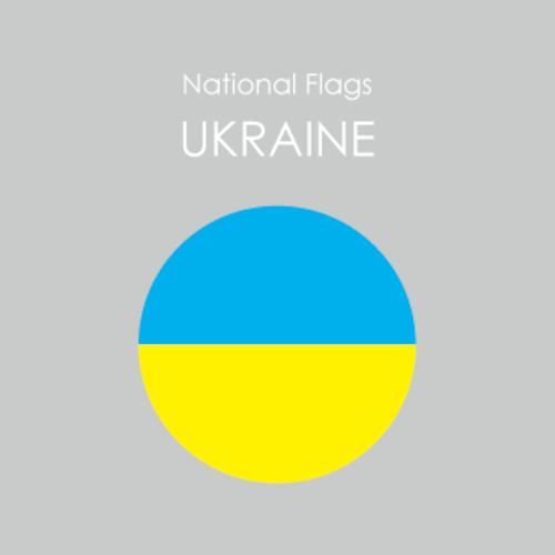 円形国旗ステッカー「ウクライナ」