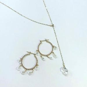 newyork herkimer diamond Yneck chain necklace