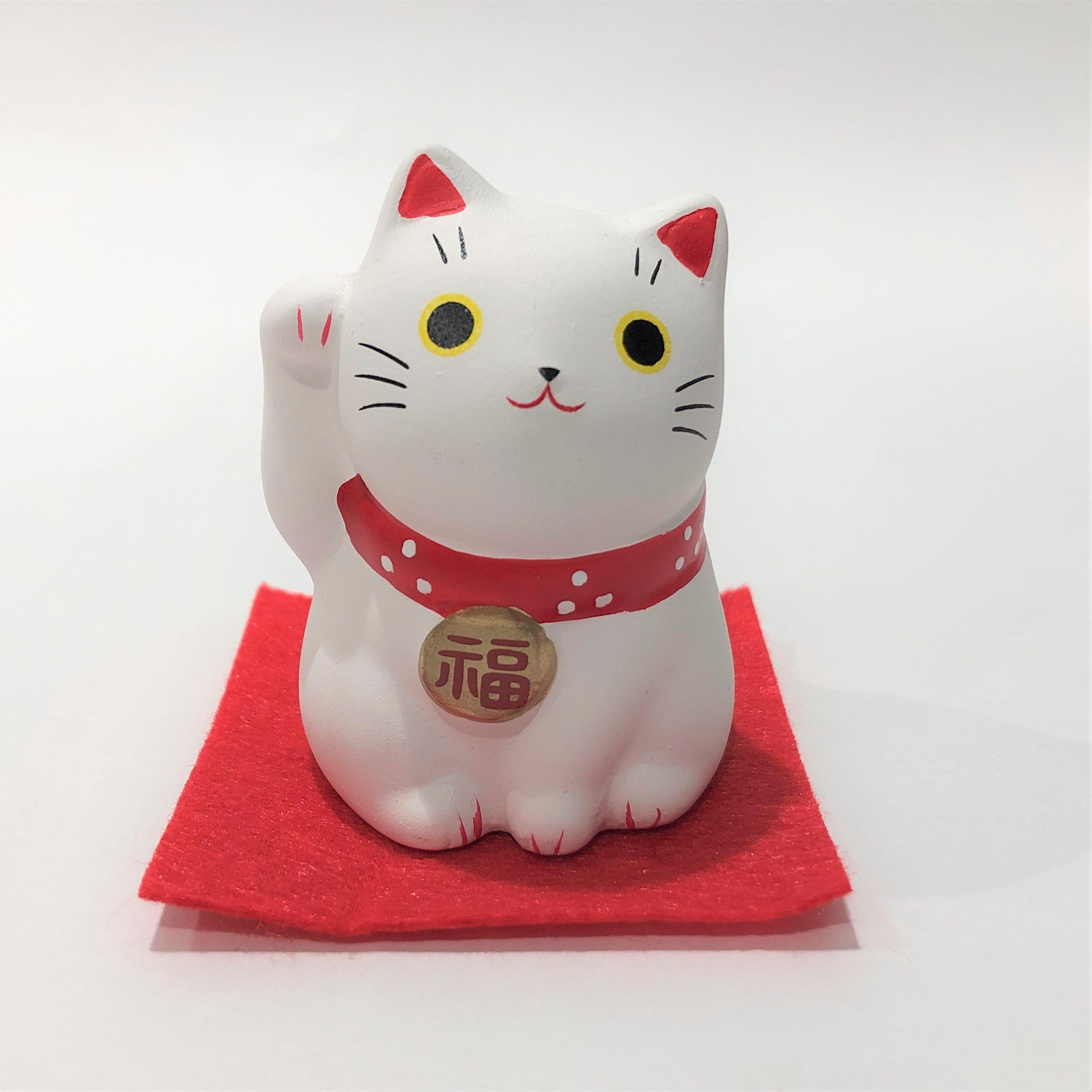 錦彩福おいで招き猫 白猫 開運招福