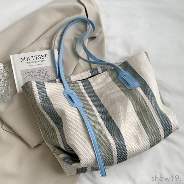 【バッグ】気質アップおしゃれ度高め 可愛いデザイン ストライプ柄 ファスナー 大容量 配色 バッグ53739108