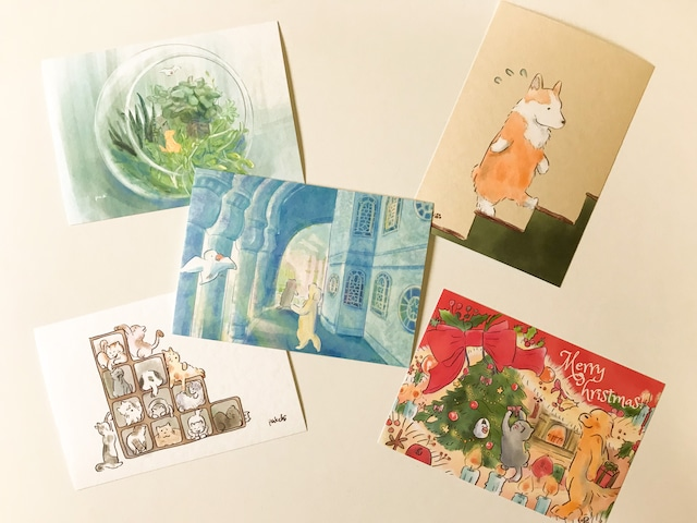 ポストカード5枚セット(クリスマスカード入り)