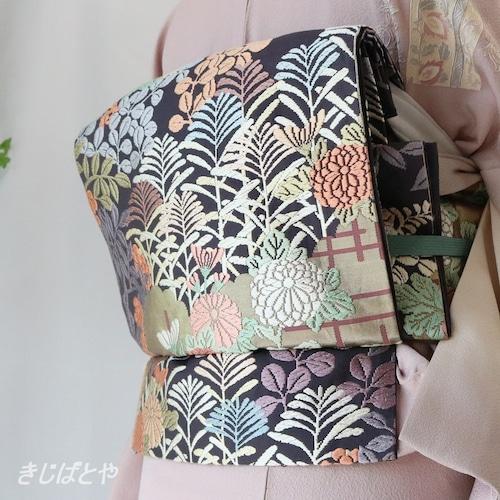 正絹 紫烏(しう)の唐織の袋帯