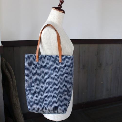 藍染リネン手織りトートバッグ(sb296)ヘリンボーン柄