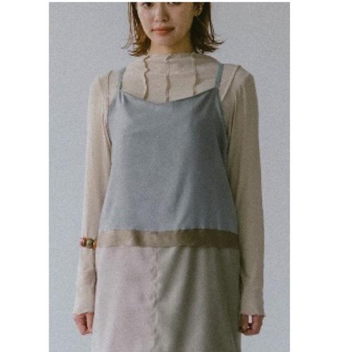 【RehersalL】pin tuck tereko long T(high neck)milk /【リハーズオール】ピンタックテレコロンT(ハイネック)ミルク