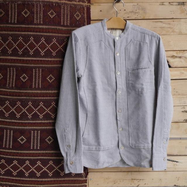 DNL Italy スリムフィット変わり織りスタンドカラーシャツ