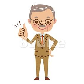 イラスト素材:グッドサインをする社長・熟年のビジネスマン(ベクター・JPG)