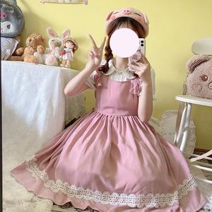 キャミソールワンピース ロリータ服 レース 白 ロリータ衣装 ドレス 可愛い ワンピース フリル 学生 lolita 9903