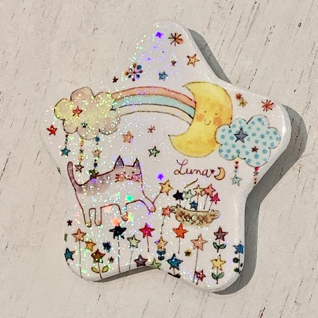 Lu*nyan 星形缶バッジ -星と虹-