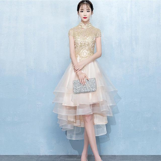 エレガント フィッシュテールドレス チャイナ風ドレス スタンドネック 半袖 刺繍入りイベント  結婚式 二次会 お呼ばれ ロング丈 大きいサイズ XS S M L LL 3L
