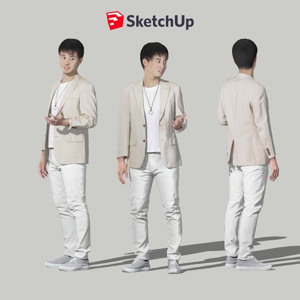 SketchUp素材 3D人物モデル ( Posed ) 107_Sota - 画像1