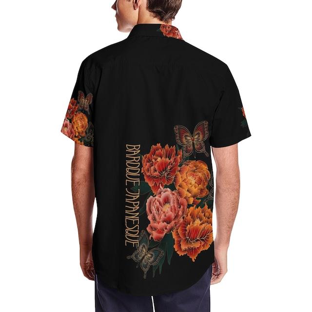 和風芍薬牡丹 和柄アロハシャツ
