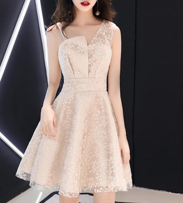 お花刺繍ショート丈ドレス