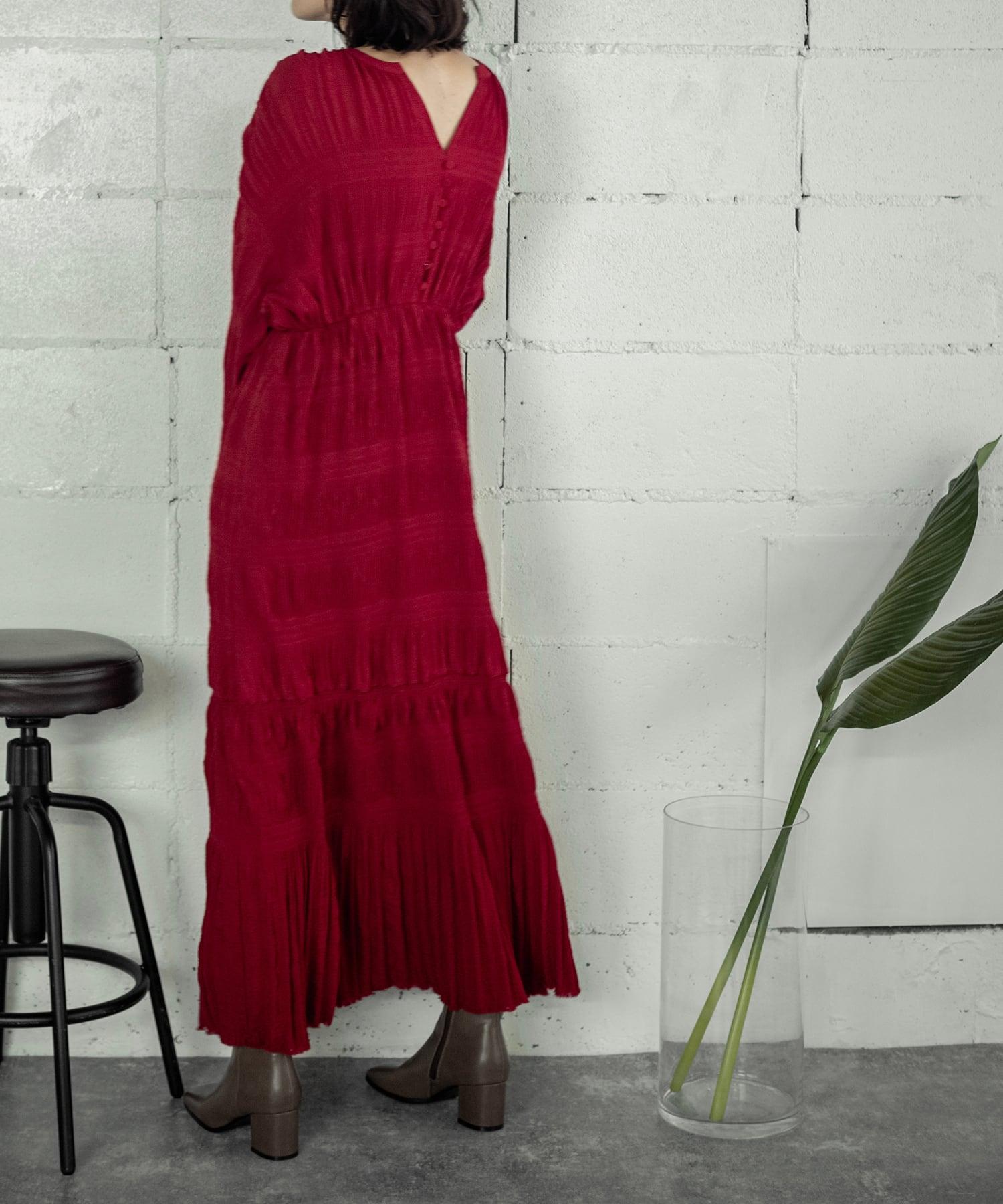 PLEATS LONG DRESS(RED)