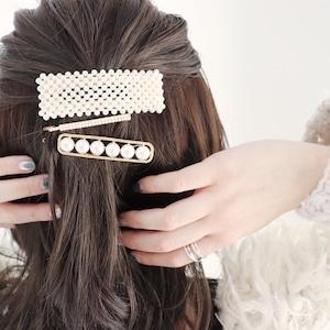 HAIR PIN || 【通常商品】 BLOSSOMS HAIR PIN SET D || 3 HAIR PINS || GOLD×WHITE || FBB077